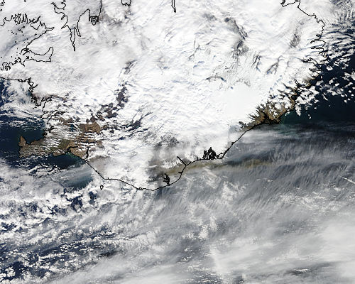 Ash plume from Eyjafjallajokull on 16th of April