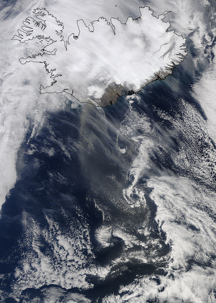 Ash plume from Eyjafjallajokull on 20th of April