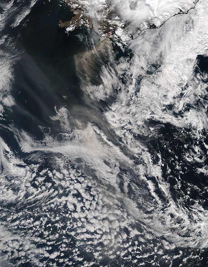 Ash plume from Eyjafjallajokull on 15th of May